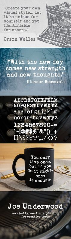 """Introducing Joe Underwood, an aged typewriter style font for creative types. The Underwood typewriter has been described as """"the first truly modern typewriter"""". Typewriter Fonts, Modern Typewriter, Underwood Typewriter, New Thought, Do It Right, Lowercase A, Typography Design, Creative, Type Design"""