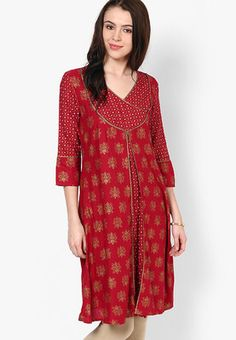 Red Printed Kurtas Red coloured printed kurtas for women by Aurelia. Crafted from viscose this knee length, 3/4th sleeves kurtas has round neck. It comes in regular fit. http://jbo.ng/0ohaJdf