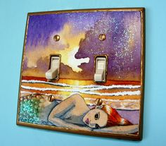 Double Light Switch Plate Cover Mermaid Decorative Fantasy Art Handmade Glitter. $25.00, via Etsy.