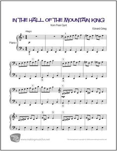 In the Hall of the Mountain King | Sheet Music for Piano (Digital Print) http://makingmusicfun.net/htm/f_printit_free_printable_sheet_music/in-the-hall-of-the-mountain-king-piano.htm