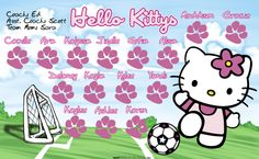 Hello Kittys digitally printed vinyl Soccer sports team banner. Made in the USA and shipped fast by Banners USA. http://www.bannersusa.com/art/templates_2/digital/banners/VBS_BB_banners.php