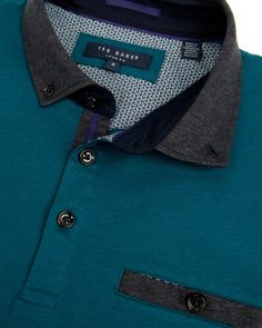 Block colour polo - Teal | Tops & T-shirts | Ted Baker UK