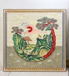 전국민화 공모전 <꿈꾸는 세상> : 네이버 블로그 Plant Painting, China Painting, Korean Art, Asian Art, Korean Painting, Mountain Drawing, Collages, Greek Art, Old Art