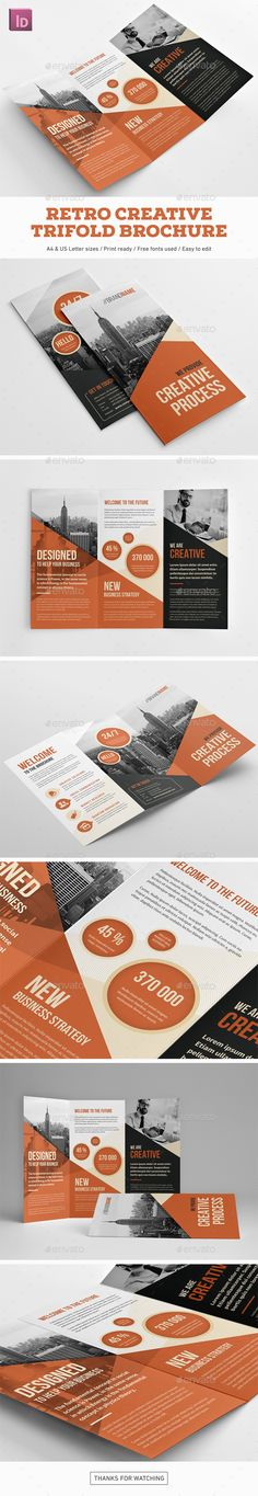 Retro Creative Trifold Brochure Template InDesign INDD
