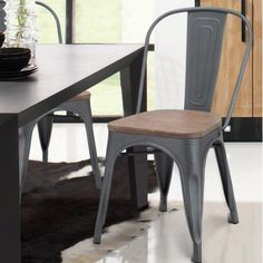 Adeco Trading Side Chair, Gray