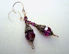 Plum Purple Crystal Earrings
