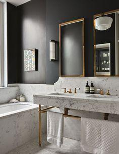 Black bathroom - masculine bathroom, marble brass and off-black, schoolhouse fixture, bathroom design