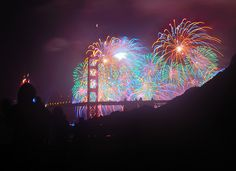 Golden Gate Bridge 75th  Multi-colored Burst of Light by JohnCramerPhotography, via Flickr
