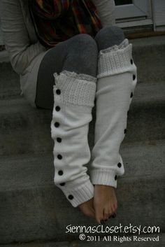 The Miss Molly - off-white Slouchy Button Down LEG WARMERS w/ Ivory Knit Lace - Legwarmers (item no. Seriously love this look! Sweater Weather, Looks Style, Style Me, Casual Chique, Mein Style, Lace Knitting, Knit Lace, Mode Inspiration, Look Fashion