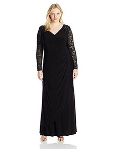 Alex Evenings Womens Plus Size Illusion Sleeve Dress Black 24W >>> Continue to the product at the image link.(This is an Amazon affiliate link and I receive a commission for the sales)