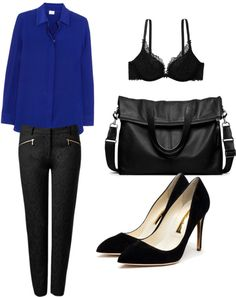 """black & cobalt office wear"" by chellemorales ❤ liked on Polyvore"