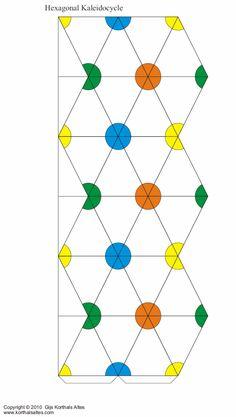 Hexagonal kaleidocycle (dots) -- click through for alternate design, PDFs, & instructions