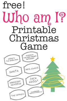 Printable Christmas Game: Who Am I? Get this fun, Free Printable Christmas Game: Who am i? Includes all the popular Christmas Characters plus a blank sheet to add your own. Xmas Games, Printable Christmas Games, Holiday Games, Christmas Party Games, Christmas Activities, Christmas Traditions, Holiday Fun, Christmas Decorations, Xmas Party