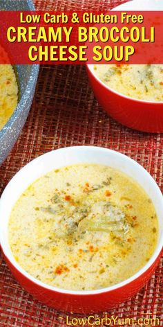 Canned soups are full of fillers. This creamy low carb broccoli cheese soup combines broccoli and cauliflower with cheddar cheese. And, it's gluten-free! | http://LowCarbYum.com