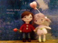 Needle felted Love dolls