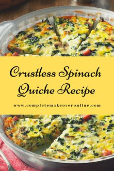 I served this quiche recipe at a church lunch, and I had to laugh when one guy told me how much he doesn't like vegetables. He, along with many other people, were surprised by how much they loved this veggie-filled crustless quiche recipe! Spinach Feta Quiche, Spinach Quiche Recipes, Veggie Quiche, Frozen Spinach Recipes, Spinach Egg Casserole, Paleo Quiche, Gluten Free Quiche, Low Carb Quiche, Vegetarian Quiche