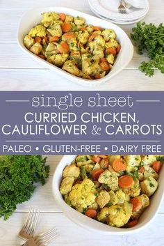 Just 10 minutes of prep time, this healthy curried chicken, cauliflower and carrot sheet pan meal is perfect for busy people who want to get #dinner on the table quickly! #Paleo, #GlutenFree, #DairyFree, #Whole30