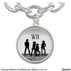 Country Western Fun Black and  White Bracelet