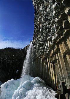 Basalt Columns, Svartifoss waterfall in Skaftafell National Park, Iceland