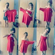 Make a beautiful dress out of an old shirt