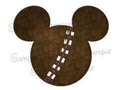 Chewbacca inspired DIGITAL printable Mickey Head file DIY on Etsy, $3.00