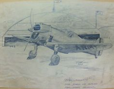 Pencil drawing of P- 36 Pursuit           Drawn by Dad (R.E. Lent)  3/16/41