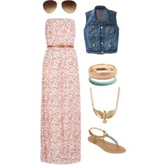 Stay cool in this cute maxi with a modest denim vest and adorable accessories.