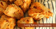 These savory scones are filled with bacon, two cheeses, and a hint of garlic. Flaky, light, melt in your mouth delicious scones.