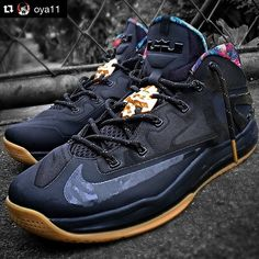 Laced Up Laces x Black Gold Thread Rope Laces | Lebron XI Low Black Gum by @oya11 | Cop at www.laceduplaces.com