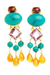 Amethyst, Turquoise and Carnelian Drop Chandelier Earrings