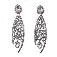 Agata - Rhinestone Crystal Flower Silver Drop Earrings