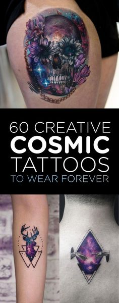 60 Creative and Cool Cosmic Tattoo Designs 60 Cosmic Space Tattoo Designs Skull Tattoos, Body Art Tattoos, Sleeve Tattoos, Space Tattoos, Space Tattoo Sleeve, Alien Tattoo, Tattoo Life, Piercing Tattoo, Nebula Tattoo