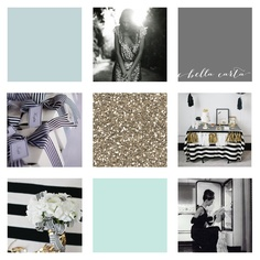 Like the grey, gold, and darker aqua (not the bright aqua at the bottom) and the black & white stripe