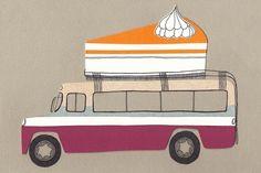 Het Paradijs Ansichtkaart Taart en Bus