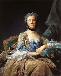 Madame de Sorquainville's open gown is laced with a wide blue ribbon over a stomacher and is worn with a matching petticoat. The front edges of the gown are trimmed with robings, rows of fabric ruched or gathered on both edges. Sleeves are narrower, and are worn with elaborate lace engageantes. She wears a small cap and a black ribbon or frill around her neck.