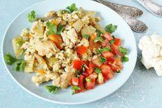 A karfiolrizs finom diétás köret, remekül bevethető a rizs, a tészta helyett. Mutatunk 3 gyors egytálvariációt, ami jól passzol a súlycsökkentő étrendbe is. Fried Rice, Risotto, Potato Salad, Healthy Lifestyle, Paleo, Dinner, Ethnic Recipes, Easy, Food