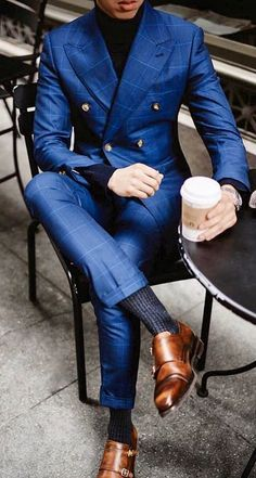 Royal blue plaid three piece suit with brown shoes. #menswear #mensfashion #menstyle #gentlemen #dapper #streetstyle #streetwear #bespoke #giorgentiweddings #theclassypeople #wedding #mensguides #groomsmen #suits #business