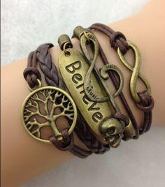 Tree of lift Bracelet, Infinitely Bracelet,Two Wings Bracelet,Musical notes Skull Bracelet,pearl Charm Bracelet,Best Gift