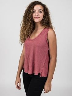 Super soft high low red sleeveless tank with back detail. Shop Boomerang Boutique Online!