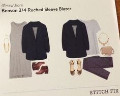 Stitch Fix Review July 2015    Benson 3/4 Ruched Sleeve Blazer by 41Hawthorn