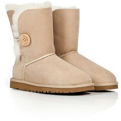 UGG Australia - Suede Bailey Button Boots ($171) ❤ liked on Polyvore featuring shoes, boots, uggs, botas, sheepskin boots, mid calf boots, calf length boots, button boots and tan boots