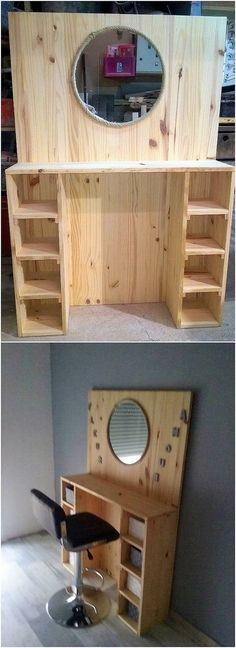 Diy Furniture - This dressing table design of the wood pallet is so extraordinary designe. Diy Furniture - This dressing table design of the wood pallet is so extraordinary designed out t. Wooden Pallet Projects, Wooden Pallet Furniture, Wooden Pallets, Wooden Diy, Pallet Ideas, Pallet Couch, Pallet Wood, Pallet Seating, Pallet Patio