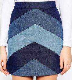 Esquema de modelagem de saia jeans com recortes diagonais para aproveitar tecido do 36 ao 56.