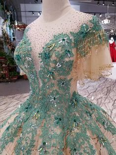 wedding dress with bling Green Ball Gown Sequins Bling Bling High Neck Short Sleeve Appliques Wedding Dress 11090 Wedding dresses with bling 15 Dresses, Ball Dresses, Pretty Dresses, Beautiful Dresses, Ball Gowns, Evening Dresses, Fashion Dresses, Green Wedding Dresses, Classic Wedding Dress