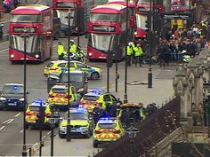 "A police officer has been stabbed and a suspected assailant shot outside the Houses of Parliament, shortly after a car is reported to have rammed into members of the public on Westminster Bridge. At least three gun shots were heard by those inside Westminster, and proceedings in the House of Commons have been suspended as police deal with what they tentatively described as a ""terrorist incident""."