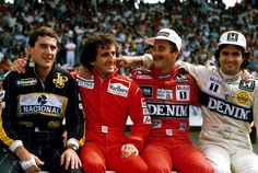 Ayrton Senna Alain Prost Nigel Mansell Nelson Piquet 1986 by Zip250, via Flickr