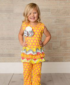 Another great find on #zulily! Gold & Pink Polka Dot Ruffle Top & Pants - Toddler & Girls #zulilyfinds