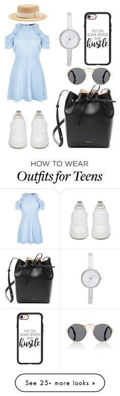 """Untitled #584"" by syshrn on Polyvore featuring New Look, Filù Hats, Golden Goose, Mansur Gavriel, Prada, DKNY and Casetify"