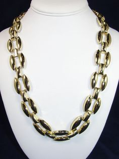 """Vintage CHUNKY Gold Chain Necklace 23"""" Shiny Metal 7/8"""" Thick RUNWAY Statement #Unbranded #Chain"""