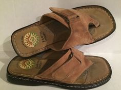fd3c7a520b8 EARTH SHOE Size 6 Thong Sandals ACORN TAN LEATHER Slide Flip Flop Shoes